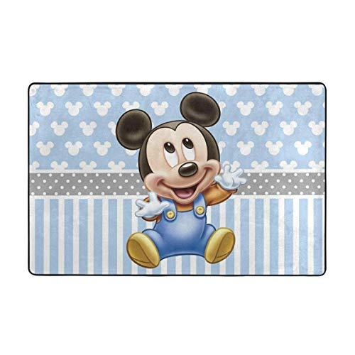 Alfombra antideslizante grande de Mickey de dibujos animados de bebé alfombra de sala de estar alfombra de piso felpudo de 60 x 90 pulgadas