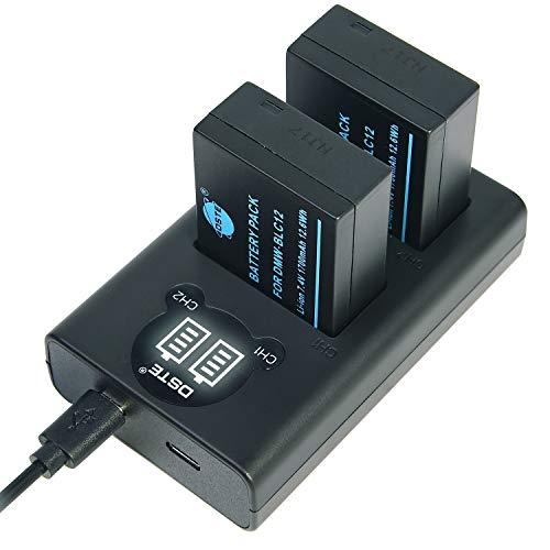DSTE DMW-BLC12 Batería Recargable (Paquete de 2) y Cargador USB Dual LED Inteligente compatibles con Panasonic Lumix DMC-FZ200, DMC-FZ1000, DMC-FZ2000, DMC-G5, DMC-G6, DMC-G7, DMC-GX8, DMC-G85