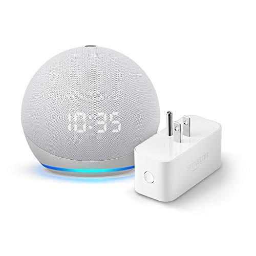 Echo Dot (4th gen.) with Clock, Glacier White and Amazon Smart Plug (Electronics)