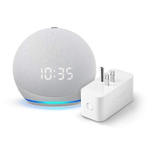 Echo Dot (4th gen.) with Clock, Glacier White and Amazon Smart Plug (Electronics)