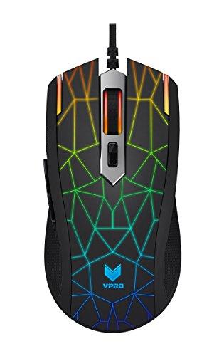 Rapoo VPRO V26S optische LED Gaming Maus mit programmierbaren Tasten, mehrfarbiges LED-Lichtsystem, schwarz