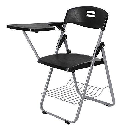 Folding chair Silla de Oficina Silla Plegable Silla de Conferencia Silla Plegable de plástico Negro/Gris/Azul Silla de Oficina con Tablero de Escritura Silla de escritorio-80 × 48 × 42cm