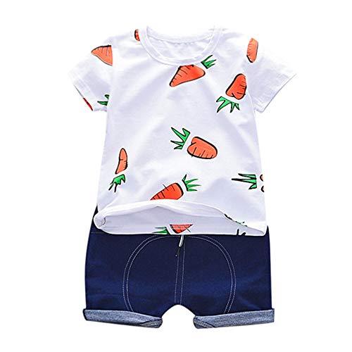 FELZ Ropa Bebe Niño Verano Recién Nacido 6 Meses a 3 Años Camiseta de Manga Corta con Estampado de Zanahorias + Pantalones Cortos sólidos Conjunto de Traje Casual Conjunto Dos Piezas