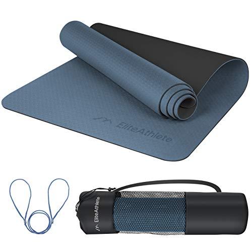 EliteAthlete Yogamatte - Fitnessmatte - Gymnastikmatte - Übungsmatte gepolstert & rutschfest für Fitness, Pilates & Gymnastik - 183 cm x 61 cm x 0.6 cm - Sportmatte mit Tragegurt & extra Tasche