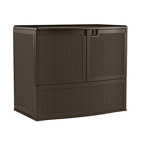 Suncast 195 Gallon Resin Outdoor Patio Storage Box with Top Lid, Java