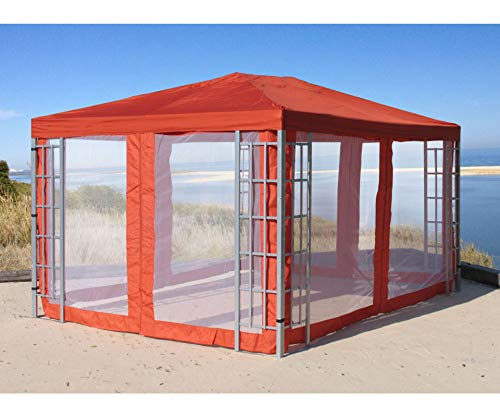 Grasekamp kwaliteit sinds 1972 aluminium look paviljoen 3 x 4 m terra met 4 zijpanelen klamboe rankpaviljoen partytent Gazebo