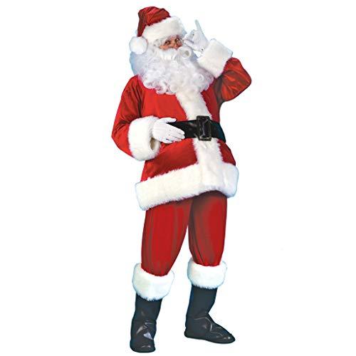 YUAKOU Santa Suit Christmas Santa Claus Costume for Men Women Adult Costume Santa 10 pc Outfit Red