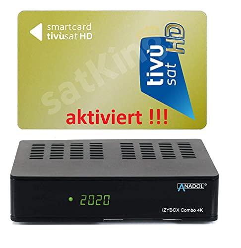 Set de tarjeta de golf Tivusat HD activada + receptor combo UHD 4K – emisor italiano preinstalado – Astra & Hotbird / Eutelsat preinstalado – Reciever 3 en 1 para Sat, televisión por cable y DVB-T2