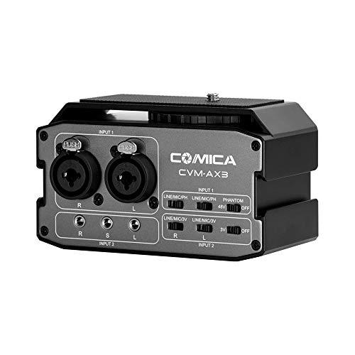 TOPTOO CoMica CVM-AX3 XLR-Audio-Mischpult-Adapter Vorverstärker Dual XLR /6,35 mm/3,5 mm Mikrofon-Audio-Mischpult-Unterstützung Positives und passives Mikrofon Echtzeitüberwachung für Canon Nikon Sony