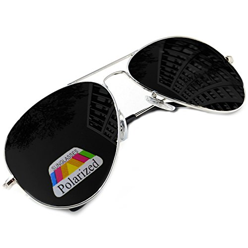 MFAZ Morefaz Ltd Hombre Mujer Polarizado Gafas De Sol Estilo Piloto Silver Black (Silver Black)