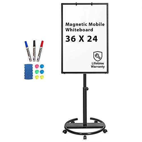 Mobile Whiteboard – 36 x 24 inches Portable Magnetic Dry Erase Board Stand Easel White Board Dry Erase Easel Standing Board w/Flipchart Hooks (Black)