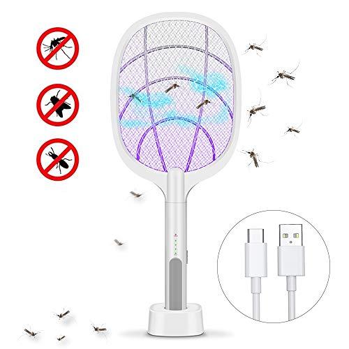 Gecheer Raqueta Mosquitos Electrica USB Recargable, Matamoscas Electrico Exterior, con Lámpara de Iluminación LED, Malla de Seguridad de 3 Capas Toque Seguro