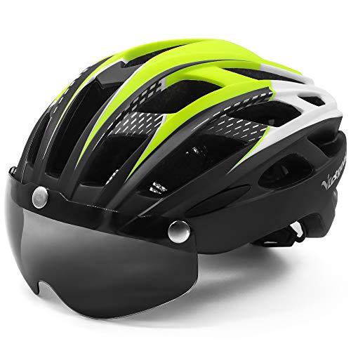 VICTGOAL Casco Bici con Visiera Magnetica Casco da Ciclismo Unisex per Bici da Corsa All'aperto Sicurezza Sportiva Casco da Bicicletta Superleggero Regolabile 57-61 cm (Giallo Nero)