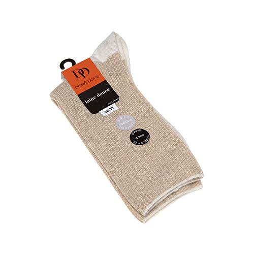 Dore Dore Socke mittelhoch - 1 paar - verstärkte Ferse - Verstarkte zehen - Flachnaht - gummilose - ohne Frotte - Bunte Spitze - Chaude - Viscose - Blanc - 36/38