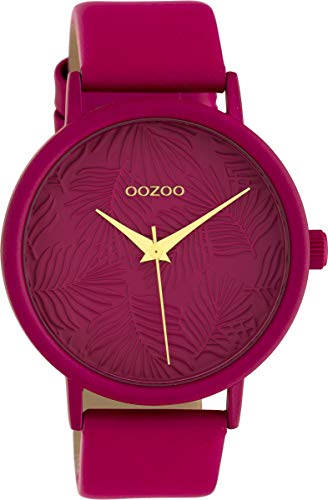 Oozoo Damenuhr mit Lederband 42 MM Colours of Summer Palmen Zifferblatt Unicolor Pink C10167