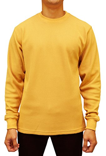 Access Men's Heavyweight Long Sleeve Thermal Crew Neck Top Wheat Large