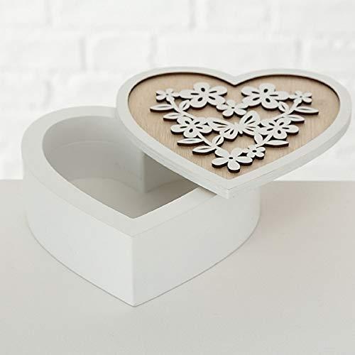 CasaJame Hogar Accesorios Adorno Joyero Caja de Madera en Forma de Corazón con Tapa Decorada Flores Mariposas 16x16x6cm