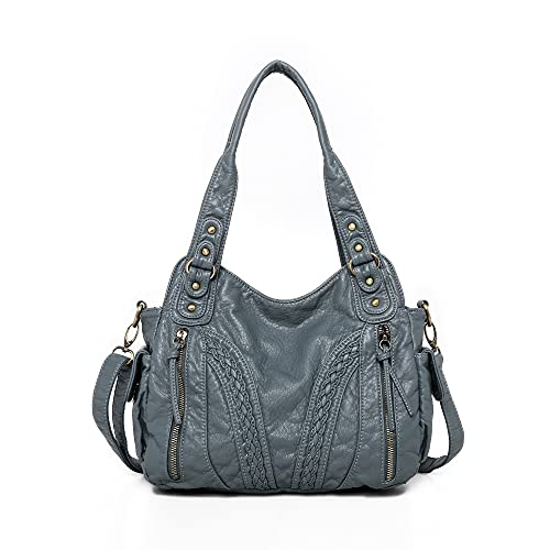 Montana West Washed Leather Handbags for Women Concealed Carry Purses Stylish Satchel Handbag Hobo Bags CW-MWC-019JEAN