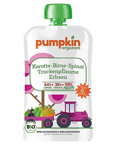 Pumpkin Organics FREUDE Bio Gemüsepüree Quetschie aus Karotte, Spinat, Erbsen, Birne und Trockenpflaume (30 x 100g) I Babynahrung ab dem 6. Monat