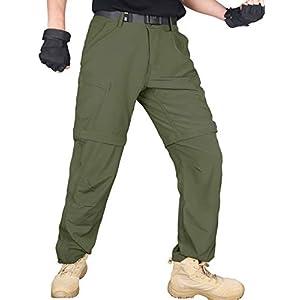 メンズ コンバーチブル ハイキングパンツ 速乾 軽量 ジップオフ アウトドア 釣り 旅行 サファリパンツ ベルト付き グリーン 38