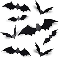 Coogam 60PCS Halloween 3D Bats Decoration 2021 Upgraded, 4 Different Sizes Realistic PVC Scary Black Bat Sticker for...