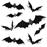 Coogam 60PCS Halloween 3D Bats Decoration 2021 Upgraded, 4 Different Sizes Realistic PVC Scary Black Bat Sticker for Home Decor DIY Wall Decal Bathroom Indoor Hallowmas Party Supplies