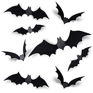 Coogam 60PCS Halloween 3D Bats Decoration 2021 Upgraded, 4 Different Sizes Realistic PVC Scary Black Bat Sticker for…