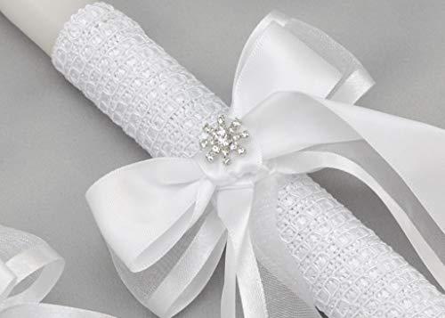 Greek Orthodox Wedding Candles Lambathes with Satin Bows and Rhinestone Jewels | White | Dahlia