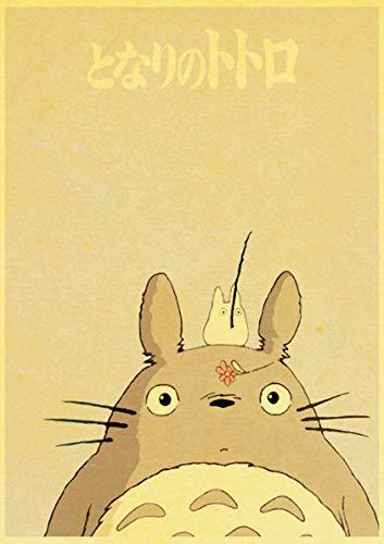 jiayouernv Hayao Miyazaki Película Clásica De Anime Totoro Póster Decoración De Habitación De Niños Papel Kraft Vintage Carteles Impresos Arte Pegatinas De Pared K394 50X90Cm
