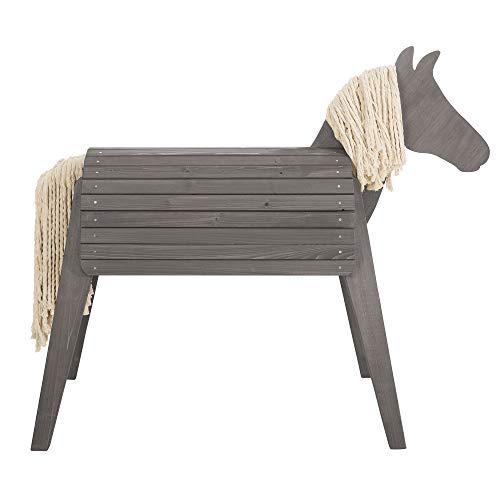 roba Caballo de juegos para exteriores, madera maciza, caballo volteador muy estable, caballo de jardín con crin y cola, gris