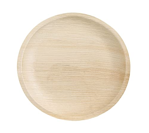 Tessera QPF23R - Platos de hoja de palma, redondos, 23 cm, biodegradables, compostables, vajilla desechable para fiestas y eventos