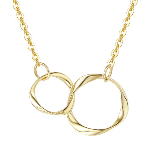 Agvana Mothers Day Gifts 14K Solid Real Yellow Gold Two Interlocking Infinity Eternity Double Circles Necklace Mother Daughter Necklace Fine Jewelry Anniversary Birthday Gifts for Women Girls Mom Her