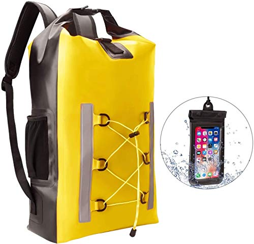 Vwcoik Floating Waterproof Dry Bag Waterproof Backpack with Phone Pouch, Dry Bag with Adjustable Shoulder Straps - 30L Floating Dry Sack for Kayaking, Hiking,Beach, Snowboarding, Fishing, Boating, Cam