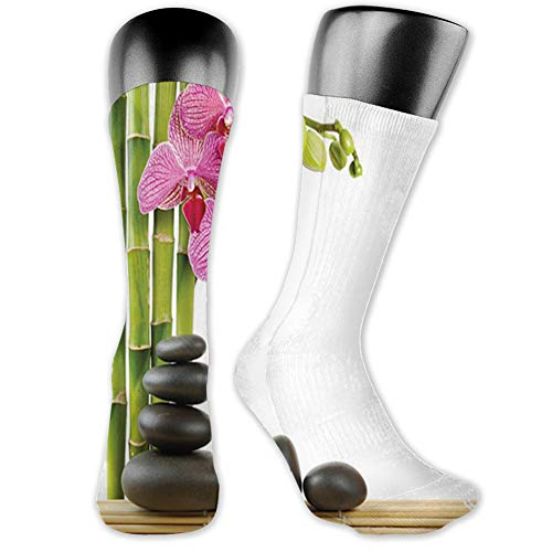 Ingpopol Medium long Crew Socks,Spa,Pink Orchid with Bamboos and Black Hot Stone Massage Image Print,Unisex 15.7',Pink Green and Black