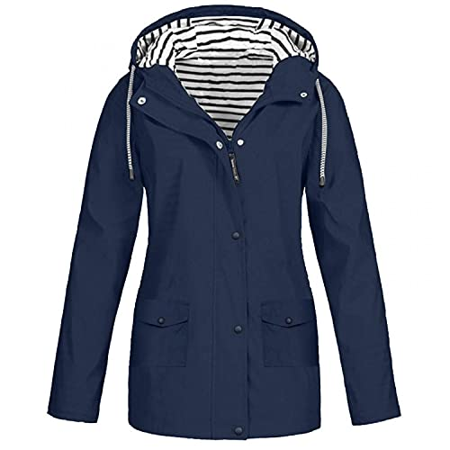 PMDKLSPQ Chaqueta de lluvia para mujer, impermeable, ligera, transpirable, con capucha y cremallera, chaqueta de deporte para exterior, cortavientos, azul marino, S