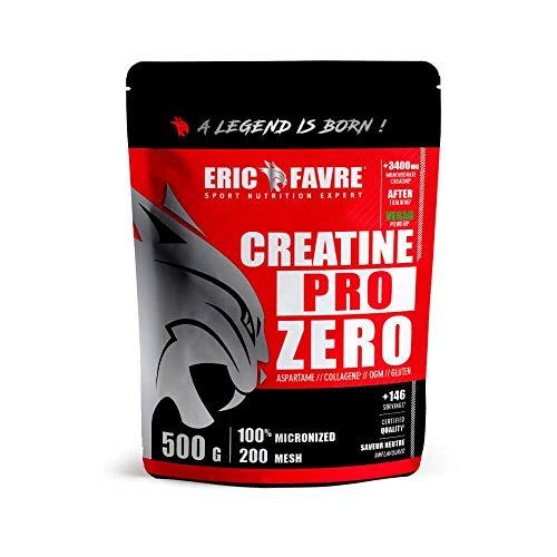 Pure Creatine - Pro Zero |Explosivité Puissante - Effort Intense & Puissance |Boost les Capacités Physique |Goût Neutre - 500 g | Laboratoire Français Eric Favre