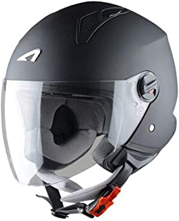 Astone Helmets - MINIJET monocolor - Casque jet - Casque jet urbain - Casque moto et scooter compact - Coque en polycarbonate - Black Matt M