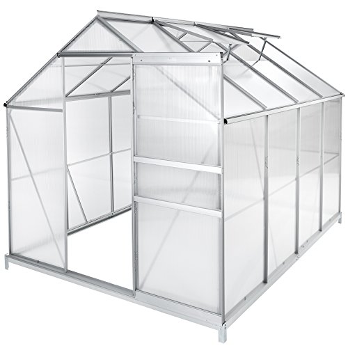 TecTake Greenhouse Polycarbonate Aluminium Growhouse with Window and Sliding Door - Different Models - (250x185x195cm with foundation | no. 402475)