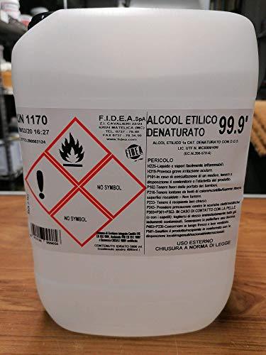 Alcohol etílico 99,9 grados etílico desnaturalizado incoloro específico para goma laca.Paquete de 5 l Alcohol para goma laca.