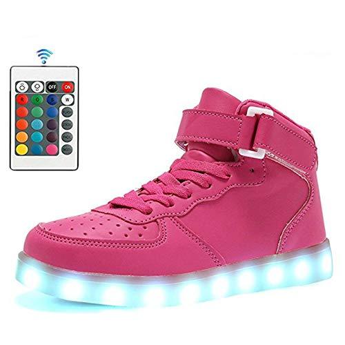 WUANNI High Top Men Led Shoes con Control Remoto Luminous Light Up Shoes para Adultos 7 Colores Intermitentes Casual Light Up USB Charge Shoes-Lavanda_5 5