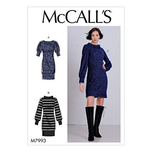 【McCall's】VERY EASY 3種類のフィットドレスの型紙セット サイズ:XSM-SML-MED M7993