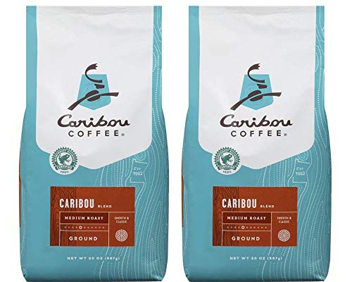 Caribou Coffee Caribou Blend, Medium Roast Ground Coffee, 20 Ounce Bag, Rainforest Alliance Certified (2 Pack of 20 Oz)