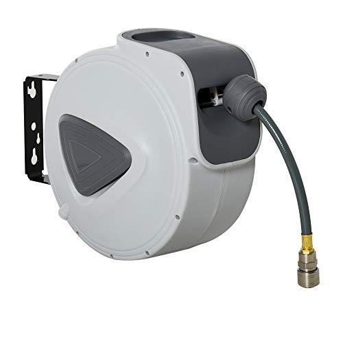 DURHAND Carrete de Manguera de Aire Comprimido Automático de 30 m Conector de 1/4\'\' BSP con Soporte para Pared Giratorio 180° Diámetro Interno 3/8\'\' (9,5x15 mm) Gris