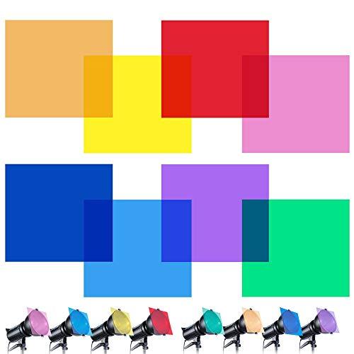 Farbfilter Folie, Transparente Korrektur Licht Gel Filter Set für Fotografie Blitz (Rot, Gelb, Orange, Grün, Lila, Pink, Hellblau, Dunkelblau)