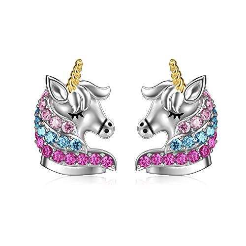 Einhorn Ohrringe Sterling Silber 925 Mädchen Kinder Ohrstecker, Einhorn Schmuck Geburtstag Geschenke für Frauen Tochter (Mehrfarbig)