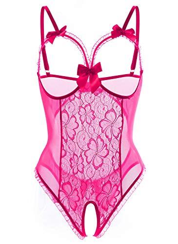 Women Sexy Teddy Lingerie One Piece Lace Babydoll Bodysuit Nightie Plus Size S-3XL (Small, Rose Red)