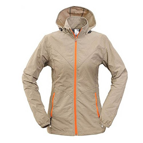 CIKRILAN Femme Coupe-Vent Capuche Protection Solaire Veste Outdoor Randonnée Voyage Sport Quick Dry Respirant Manteau (XXXX-Large, Khaki)