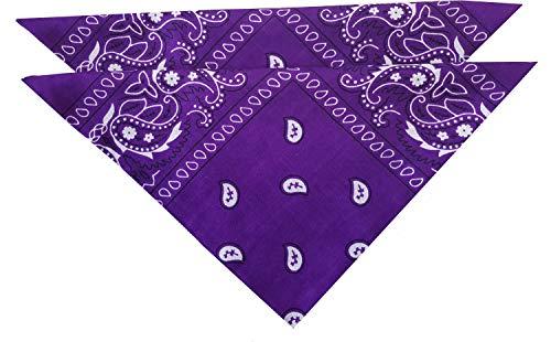 Set 2 Unisex Bandana Halstücher Bandanas aus 100% Baumwolle Gesichtstuch für Damen und Herren Mund Nase Abdeckung Größe ca. 53x53cm Farbe Lila