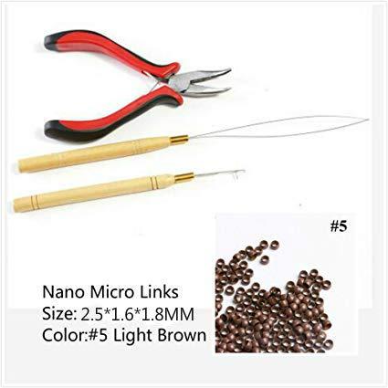Juego de 3 utensilios para extensiones de cabello, 1 alicates, 2 agujas de lazo, 200 micro y nano anillas para unir el cabello y extensiones para el pelo de plumas
