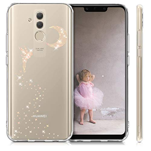 kwmobile Huawei Mate 20 Lite Hülle - Handyhülle für Huawei Mate 20 Lite - Handy Case in Fee Glitzer Design Rosegold Transparent - 5